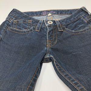 Bebe Lanna Skinny Crop Distressed Blue Jeans